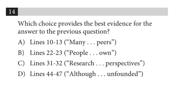 Command of Evidence Question (SAT)
