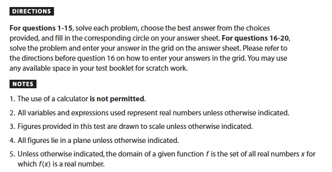 SAT Math: No-Calculator Section Instructions