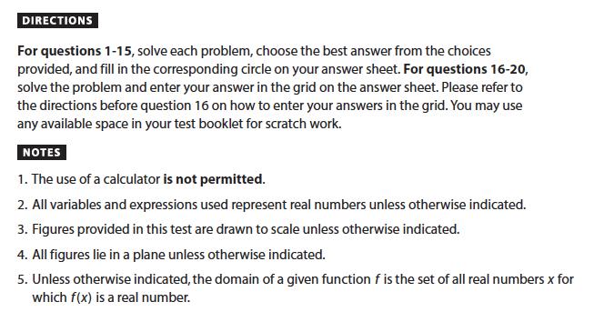 SAT Math: No-Calculator Section Instructions