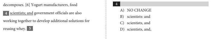 SAT Punctuation Question