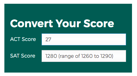 ACT and SAT Score Comparison Tool